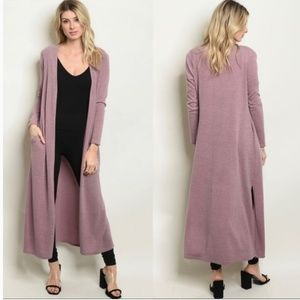Cotton On Dusty Rose Slit Side Long Cardigan